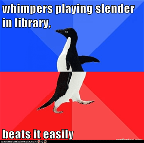 whimpers playing slender in library,  beats it easily