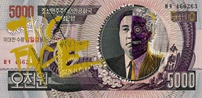 Defaced North Korean Bills Form the Injustice League