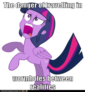 The danger of travelling in  wormholes between realities