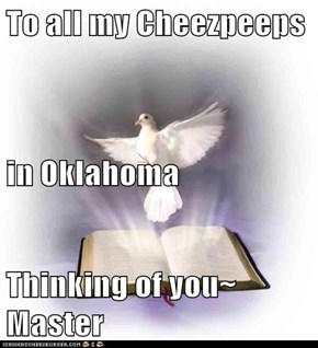 To all my Cheezpeeps in Oklahoma Thinking of you~ Master