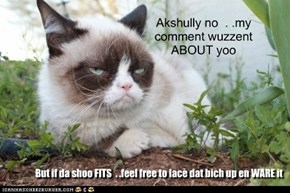 Akshully no  . .my comment wuzzent ABOUT yoo