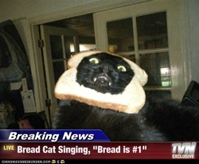 "Breaking News - Bread Cat Singing, ""Bread is #1"""