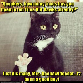 """Snookers, how many times has you been in teh Time Out Bawks alreddy?""  Just dis many, Mrs. Doonawtdoodat.. I'z been a good boy!"