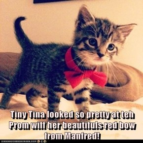 Tiny Tina looked so pretty at teh Prom wiff her beautifuls red bow from Manfred!