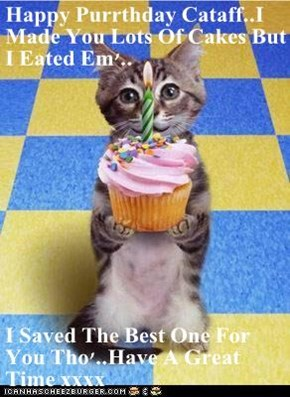 Happy Purrthday Cataff..I Made You Lots Of Cakes But I Eated Em'..  I Saved The Best One For You Tho'..Have A Great Time xxxx