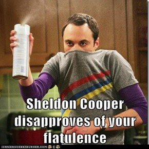 Sheldon Cooper disapproves of your flatulence
