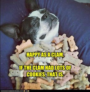 HAPPY AS A CLAM.  IF THE CLAM HAD LOTS OF COOKIES, THAT IS.