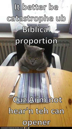 It better be catastrophe ub Biblical proportion    Cuz Ai'm not hear'n teh can opener