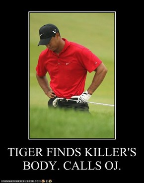 TIGER FINDS KILLER'S BODY. CALLS OJ.