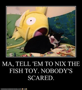 MA, TELL 'EM TO NIX THE FISH TOY. NOBODY'S SCARED.