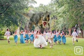 The Best Wedding Photo of All Time Features a Party-Crasher T-Rex