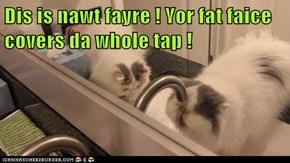 Dis is nawt fayre ! Yor fat faice covers da whole tap !