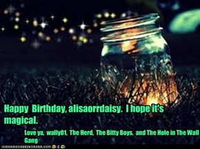 Happy  Birthday, alisaorrdaisy.  I hope it's magical.