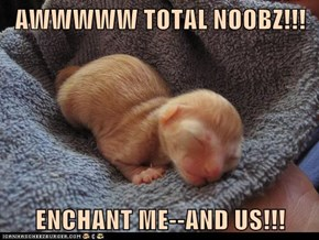 AWWWWW TOTAL NOOBZ!!!  ENCHANT ME--AND US!!!