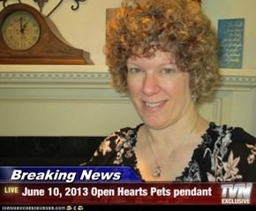 Breaking News - June 10, 2013 Open Hearts Pets pendant