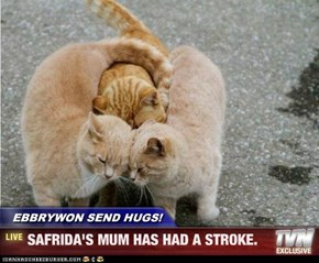 EBBRYWON SEND HUGS! - SAFRIDA'S MUM HAS HAD A STROKE.