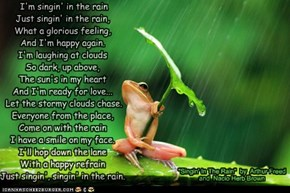 Lovestruck Frog is Singing in The Rain