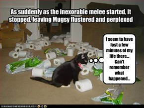 As suddenly as the inexorable melee started, it stopped, leaving Mugsy flustered and perplexed