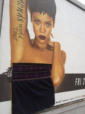 Someone is Going Around Dublin Stapling Clothes to Rihanna
