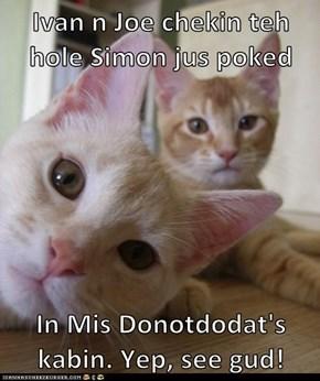 Ivan n Joe chekin teh hole Simon jus poked   In Mis Donotdodat's kabin. Yep, see gud!