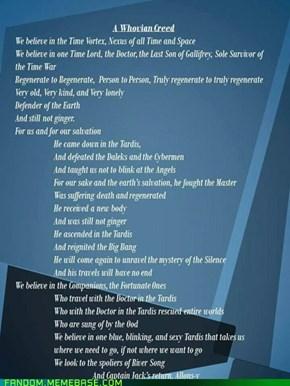 Whovian creed