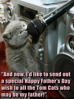 """And now, I'd like to send out a special Happy Father's Day wish to all the Tom Cats who may be my father!"""
