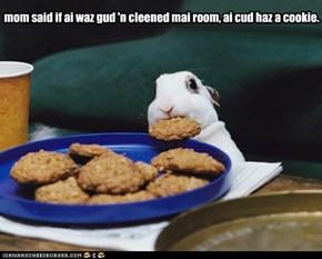 mom said if ai waz gud 'n cleened mai room, ai cud haz a cookie.