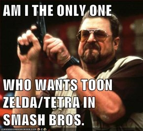 AM I THE ONLY ONE  WHO WANTS TOON ZELDA/TETRA IN SMASH BROS.