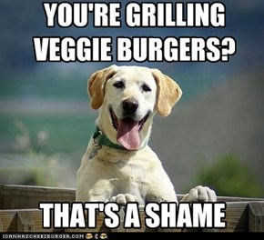 YOU'RE GRILLING VEGGIE BURGERS?