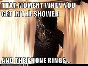 THAT MOMENT WHEN YOU GET IN THE SHOWER  AND THE PHONE RINGS...
