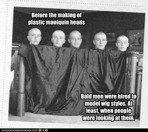 Before the making of plastic maniquin heads