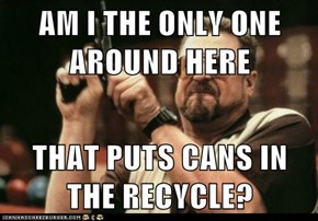 AM I THE ONLY ONE AROUND HERE  THAT PUTS CANS IN THE RECYCLE?