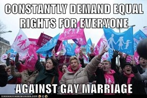 CONSTANTLY DEMAND EQUAL RIGHTS FOR EVERYONE  AGAINST GAY MARRIAGE