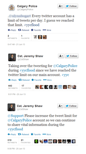 Twitter Shuts Down Calgary Police's Twitter Account During a Flood Emergency Because They Had Reached Their Daily Maximum Number of Tweets