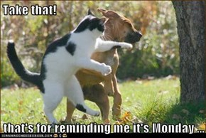 Take that!  that's for reminding me it's Monday ...