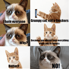 Even Snickers can't make his grumpiness go away
