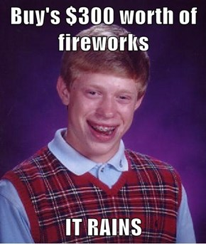 Buy's $300 worth of fireworks  IT RAINS