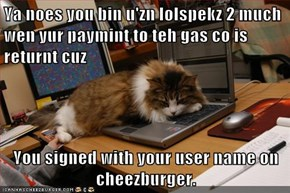 Ya noes you bin u'zn lolspekz 2 much wen yur paymint to teh gas co is returnt cuz  You signed with your user name on cheezburger.