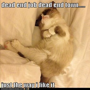 dead end job dead end town.....  just the way i like it