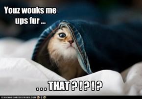 Youz wouks me ups fur ...