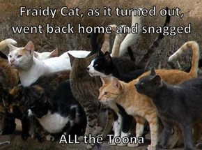Fraidy Cat, as it turned out, went back home and snagged   ALL the Toona