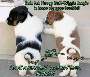 Doin teh Furrgy Butt-Wiggle Boogie  in honor obs yoor burfdai!
