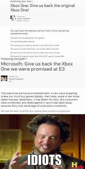 XBox Fanobys are Petitioning the changes to the Xbox One?????