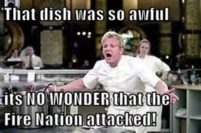 That dish was so awful  its NO WONDER that the Fire Nation attacked!