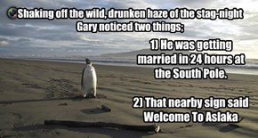 Shaking off the wild, drunken haze of the stag-night Gary noticed two things;