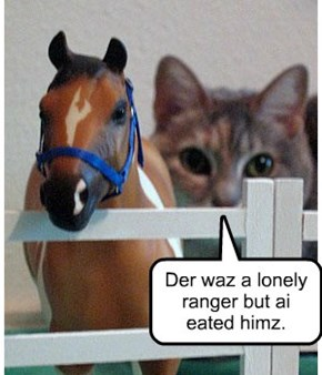 Der waz a lonely ranger but ai eated himz.