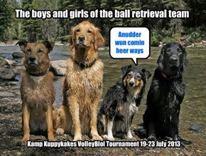 The boys and girls of the ball retrieval team