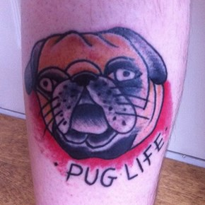 A Pug tattoo that is somehow even uglier than a Pug.