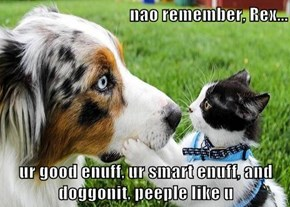 nao remember, Rex...  ur good enuff, ur smart enuff, and doggonit, peeple like u