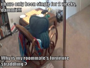i have only been single for 2 weeks, dammit!!!  Why is my roommate's furniture straddling ?